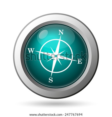 Compass icon. Internet button on white background.