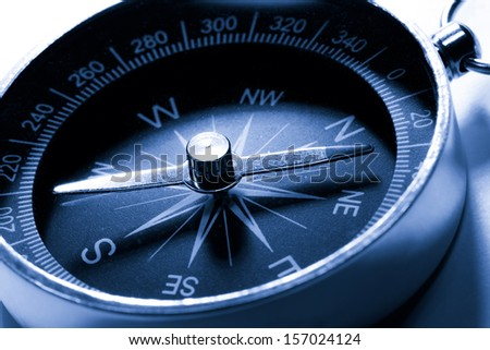 Compass in blue toning color - stock photo