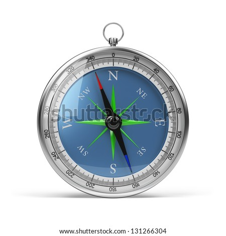 Compass in chrome housing. 3d image. White background.