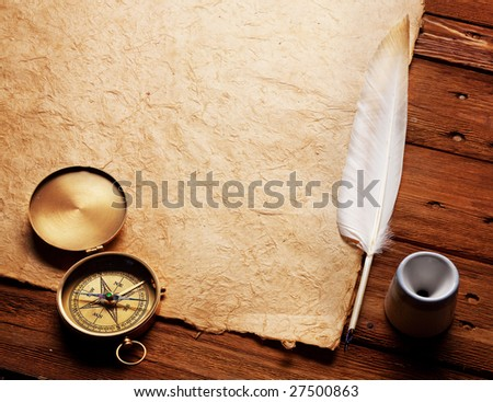 Compass, Inkwell and feather on a background of the empty form for the letter - stock photo