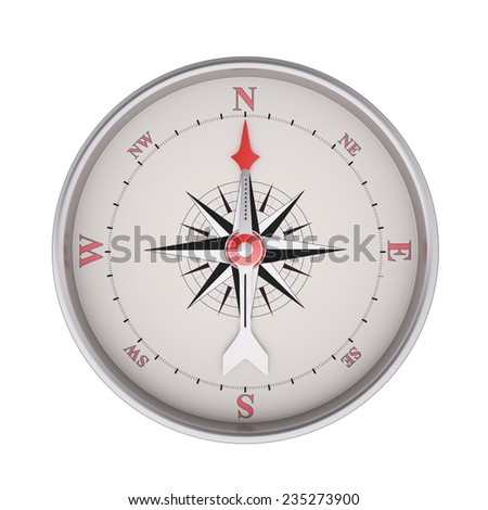 Compass isolated on white background, clipping path
