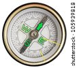 compass. Isolated on white background.Instrument that indicates magnetic north - stock photo