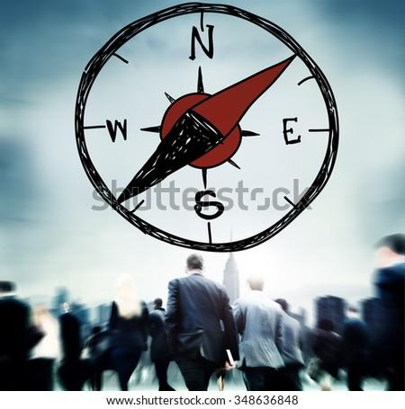 Compass Longtitude Latitude Navigation Direction Adventure Concept - stock photo