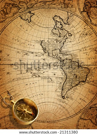 compass (map of the 18 century) - stock photo