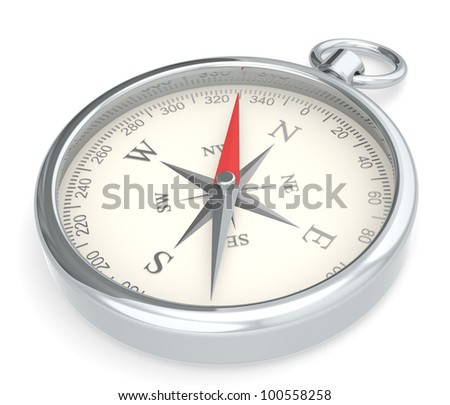 Compass. Metal Compass on white background. - stock photo