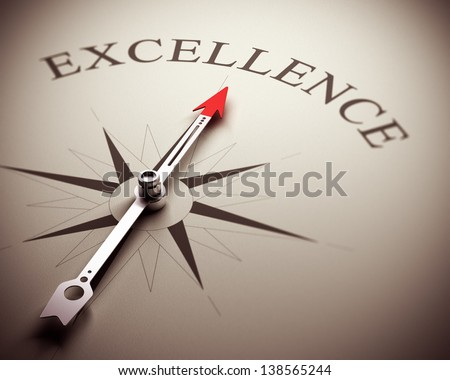 Compass needle pointing the word excellence, image suitable for business concept. 3D render illustration. - stock photo
