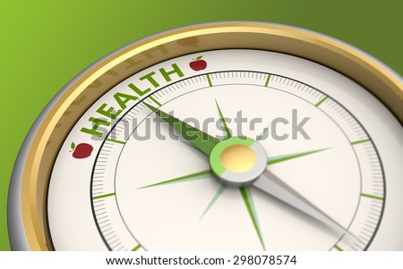 Compass needle pointing to the word health - stock photo