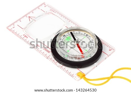 compass on a white background indicates the direction - stock photo
