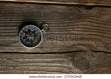 Compass on brown wooden background