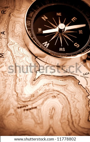 compass on map,