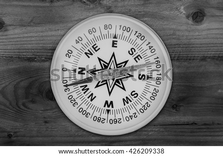 Compass on old wood background