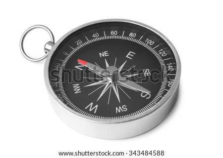 Compass on white background - stock photo