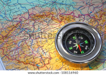 compass over map - stock photo
