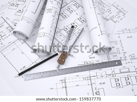 Compass, pencil and ruler lie on the drawing. 3d render