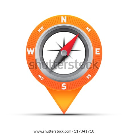 Compass placed in a circle in a pin icon for map or application target showing / Compass pin icon with star symbol - stock photo
