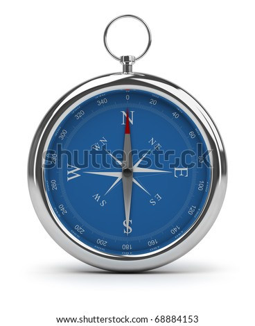Compass pointing to North. 3d image. Isolated white background.