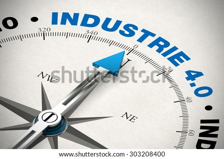 "Compass pointing to the German word ""Industrie 4.0"" (industry 4.0) (3D Rendering)"