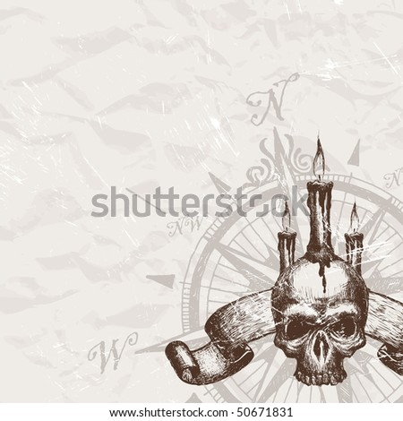 Compass rose and piracy skull - stock photo