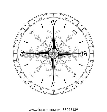 Compass rose for design isolated on white