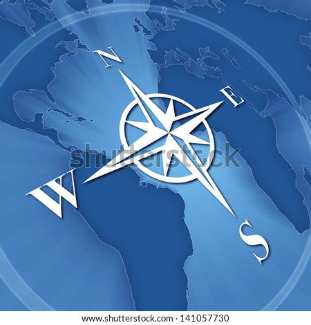 Compass rose on background of world map - stock photo