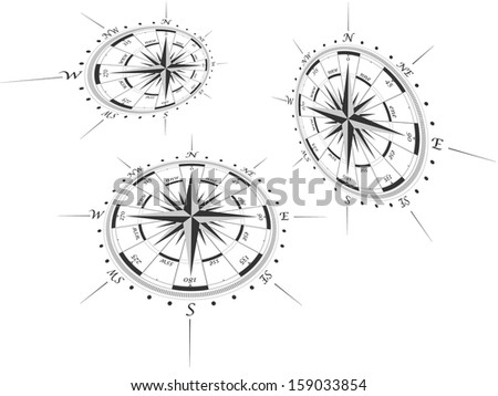Compass roses in perspective,raster copy - stock photo