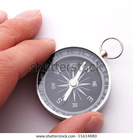 compass showing the right direction in business and finance - stock photo