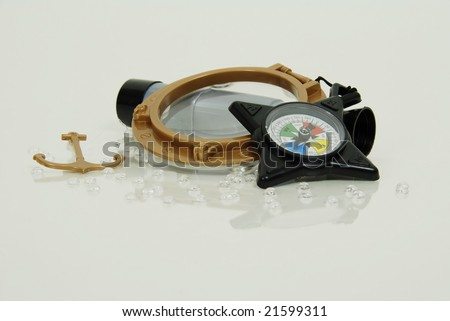 Compass used for navigational purposes, Telescoping telescope used to see distances, Nautical Port Hole and anchor