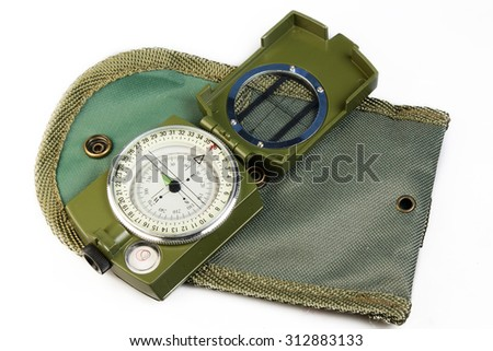 Compass with a cover on a white background