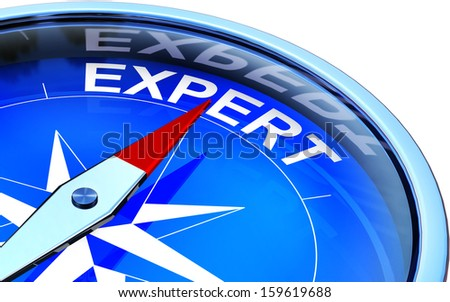 compass with an expert icon - stock photo