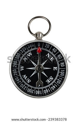compass with clipping path on white background - stock photo