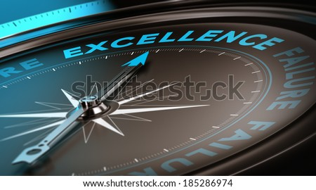 Compass with focus on the word excellence. Quality service concept suitable for motivational poster or header of a website. Blue and black tones - stock photo