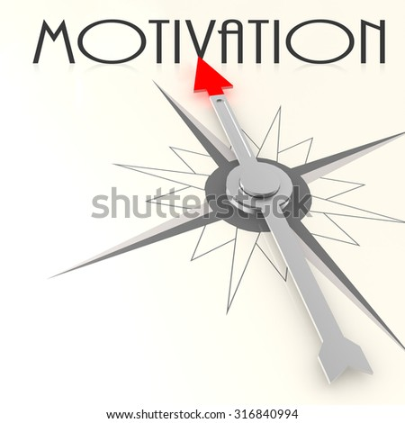 Compass with motivation word image with hi-res rendered artwork that could be used for any graphic design. - stock photo