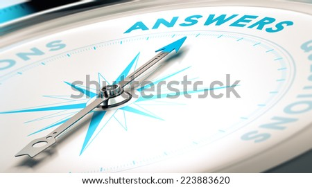 Compass with needle pointing the word answer, white and blue tones. Background image for illustration of FAQ - stock photo