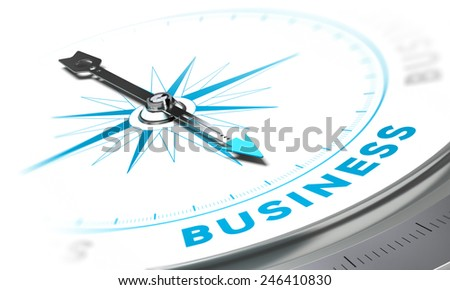 Compass with needle pointing the word business, white and blue tones. Background image for illustration of solutions concept - stock photo