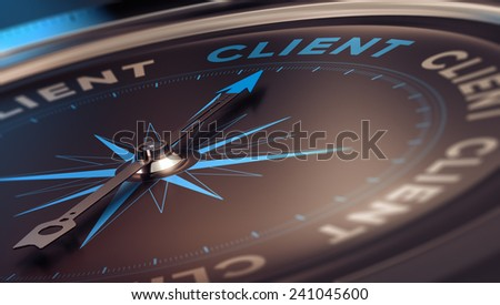 Compass with needle pointing the word client, concept image to illustrate CRM, customer relationship management. - stock photo