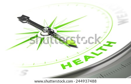 Compass with needle pointing the word health, white and green tones. Background image for illustration of medical concept - stock photo