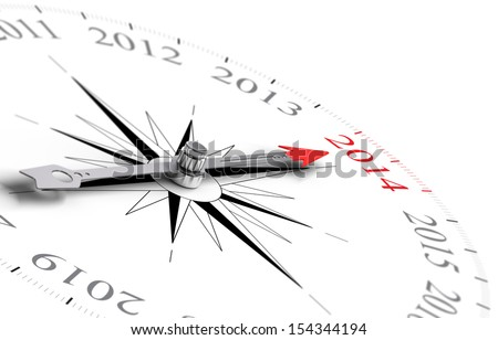Compass with needle pointing Year 2014 - Two Thousand Fourteen - 3D concept image for the new year consisting of one compass over white background - stock photo