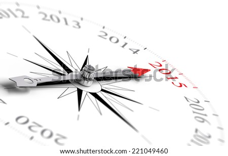 Compass with red needle pointing the year 2015, white background, illustration new year objective - stock photo