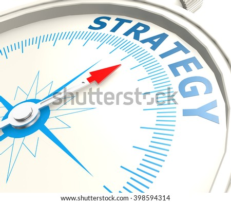 Compass with strategy word image with hi-res rendered artwork that could be used for any graphic design. 3D rendering - stock photo