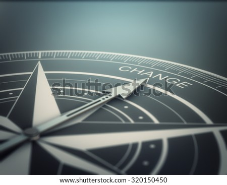 Compass with the needle pointing the word change, black background. Conceptual realistic 3D render image with depth of field blur effect. Concept for business solutions. - stock photo