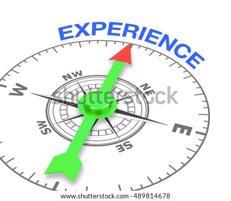compass with the needle pointing the word experience. 3d rendering