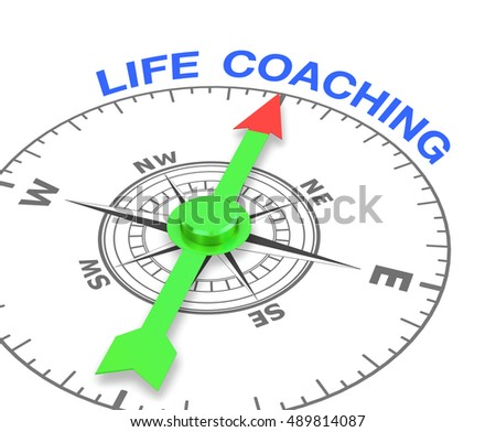 compass with the needle pointing the word life coaching. 3d rendering