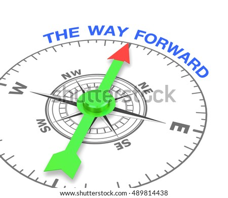 compass with the needle pointing the word the way forward. 3d rendering