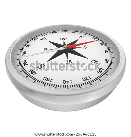 Compass with windrose isolated on white background. - stock photo