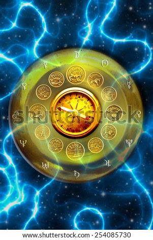 compass, zodiac symbols of signs and planets on a plate, astral compass concept - stock photo