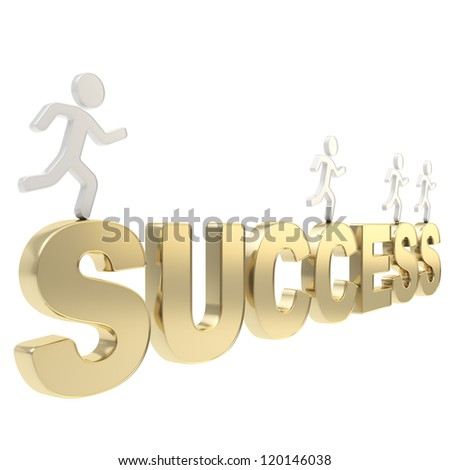 Compete for success conception: group of human symbolic figures running over the golden word isolated on white background