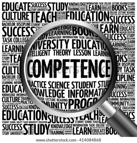 COMPETENCE word cloud with magnifying glass, concept