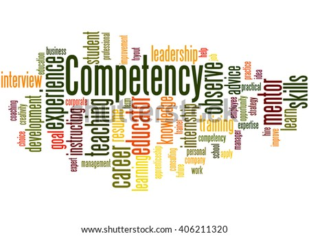 Competency, word cloud concept on white background.