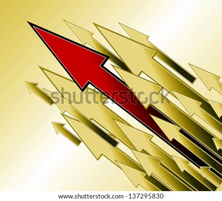 Competition and growth as an illustration, direction arrows, background - stock photo