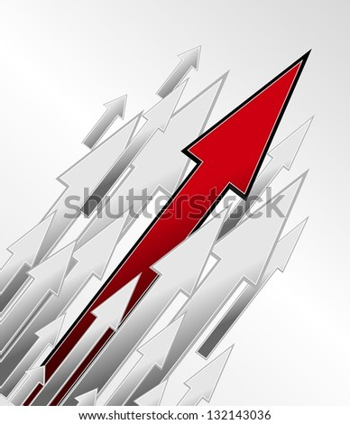 Competition and growth as an illustration, direction arrows on white background